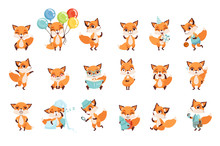 Cute Little Foxes Showing Vari...
