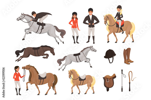 Fototapeta Cartoon jockey icons set with professional equipment for horse riding. Woman and man in special uniform with helmet. Equestrian sport concept. Flat vector design obraz