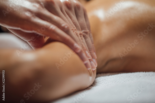 Woman Enjoying Arms and Shoulders Massage.