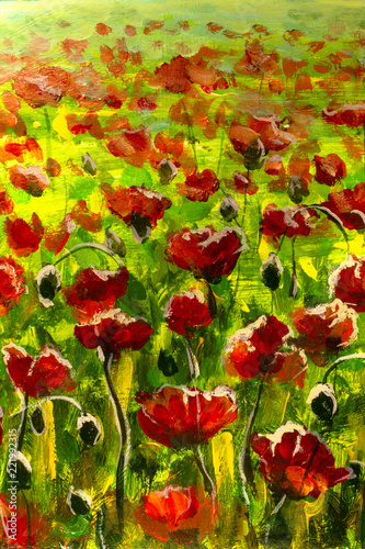 Poster Jaune Field of red poppies at sunset stunning flowers landscape oil painting