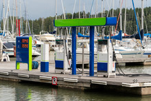 Petrol Station For Boats And Yachts With A Pier In The Marina
