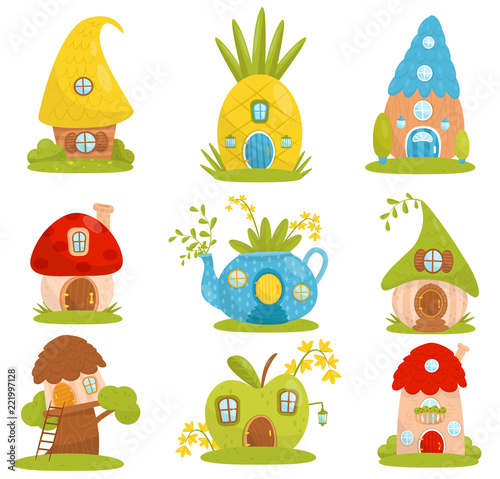 Cute small houses set, fairytale fantasy house for gnome, dwarf or elf vector Il Fotobehang