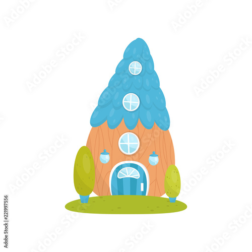 Fotografie, Obraz  Cute small house with blue roof, fairytale fantasy house for gnome, dwarf or elf