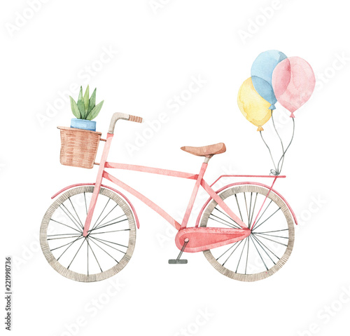 Hand drawn watercolor illustration - Romantic bike with flower basket in pastel colours Canvas Print