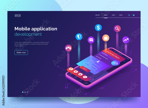 Obraz Mobile app development vector illustration. Isometric mobile phone with layout of application. User experience, user interface. Gadget software.Homepage template. design. Eps 10. - fototapety do salonu