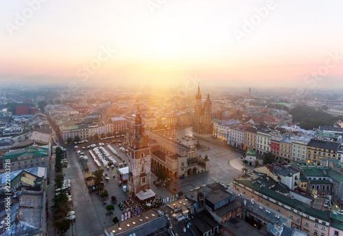 Fototapeta Krakow Market Square, Aerial sunrise obraz