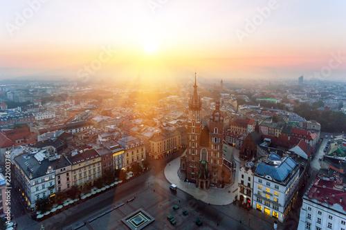 Krakow Market Square, Aerial sunrise