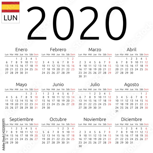 Calendar 2020, Spanish, Monday Wallpaper Mural