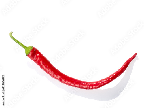 Red long pepper isolated on white background