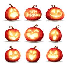 Set Pumpkins Of Halloween. A Variety Of Pumpkins For Halloween Design. Collection Of Halloween Pumpkins.