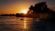 canvas print picture - Sonnenuntergang am Okavango-River, Namibia