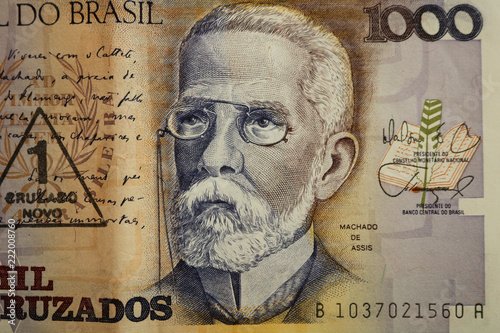 Fotografering  Machado de Assis portrait as a bust old one thousand cruzados note Brazilian money