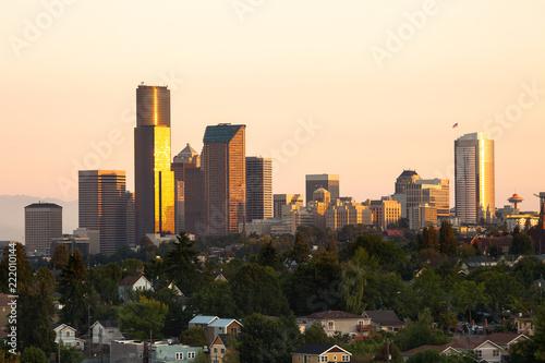 Spoed Foto op Canvas Verenigde Staten Downtown Seattle at dawn, Washington State, USA