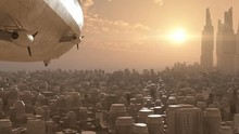Zeppelin Over The Sci-Fi City. Rear View To The Dirigible That Fly Over The City Toward The Sun