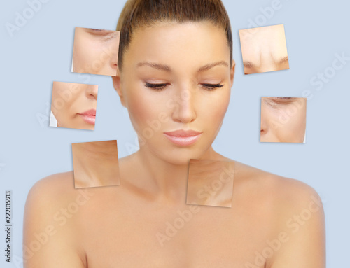 Fototapety, obrazy: Aging. Mature woman-young woman.Face with skin problem.Showing photos before and after