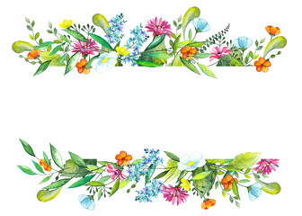 Frame of watercolor green leaves and twigs, summer orange, blue and yellow flowers