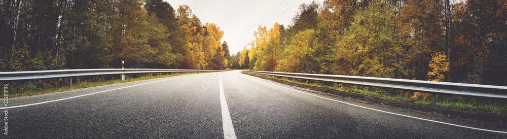 Fototapety, obrazy: asphalt road with beautiful trees on the sides in autumn