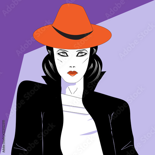 Fotografie, Obraz  A modern woman in a stylish hat is featured in a minimalist fashion and beauty illustration