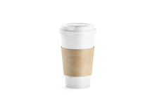 Blank White Paper Cup With Sleeve Holder Mockup, 3d Rendering. Empty Disposable Coffee Mug With Craft Cupholder Mock Up. Clear Drink Container With Clutches Isolated. Tea Take Away Pack, Logo Branding