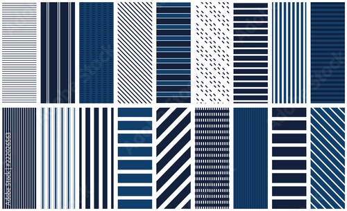 Materiał do szycia Navy Stripes. Set of 18 seamless stripe patterns for fabric, backgrounds, apparel, paper, scrapbooking and more. EPS file has global colors for easy color changes.