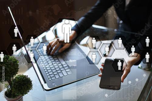 Fototapeta Human resource management, HR, recruitment, leadership and teambuilding. Business and technology concept. obraz na płótnie