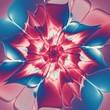 canvas print picture Buntes blütenartiges Fraktal - Illustration - Blau Dunkelrot