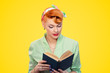 canvas print picture - Pensive woman reading book