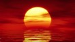 Calm sea with sunset on red background loopable animation