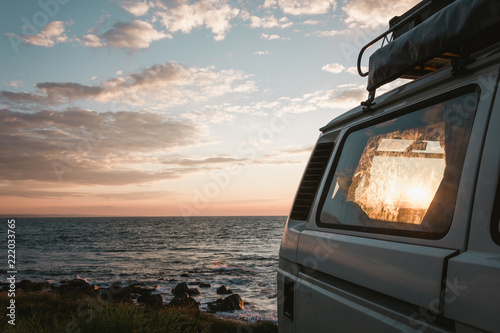 traveling europe by campervan, sunset in france Fototapet