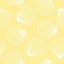 White Seashells On A Yellow Background Sea Ocean Shell Pattern Seamless Vector