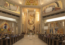 Krakow, Poland, August 15, 2018: Interior Of The Sanctuary In Lagiewniki. The Center Of Pope John Paul II.