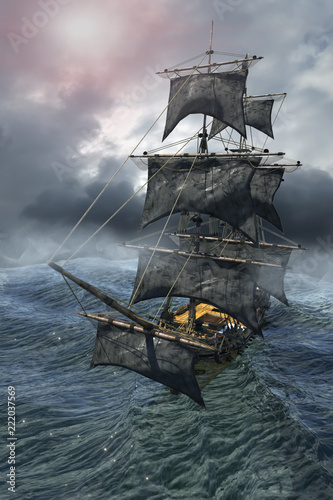 In de dag Schip pirate ship sailing on the sea, 3D render