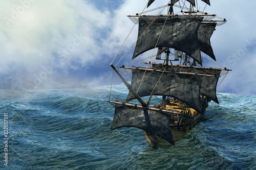 Naklejka premium piracki statek pływający po morzu, renderowania 3D