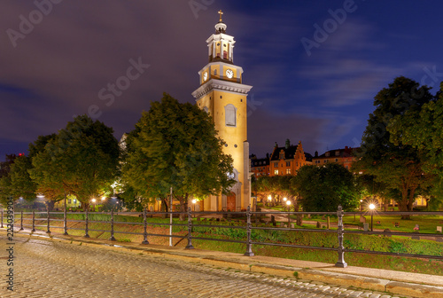 Photo  Stockholm. Church of Mary Magdalene at night.