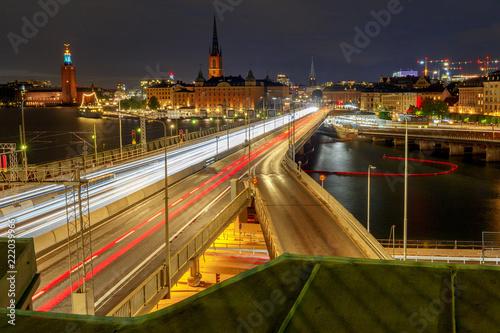 Photo  Stockholm. City embankment at night.