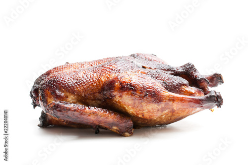 Roasted duck isolated on white