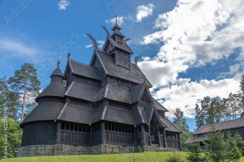 Spoed Foto op Canvas Bedehuis Norwegian Stave Church