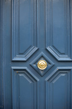 Classic Blue Doors In Paris, France, Close Up