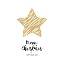 Christmas Star Card Scribble Drawing Greeting Isolated Background