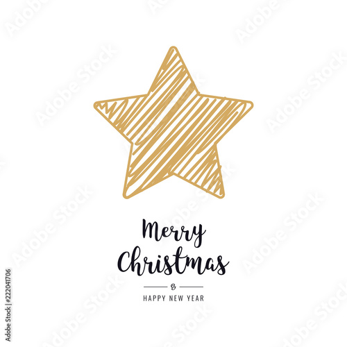 Fotografie, Obraz  christmas star card scribble drawing greeting isolated background