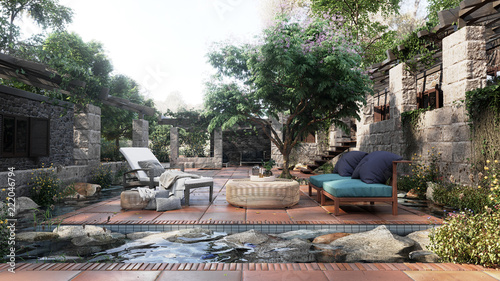 Montage in der Fensternische Rosa dunkel old alcove view with tropical garden after rain concept photo background