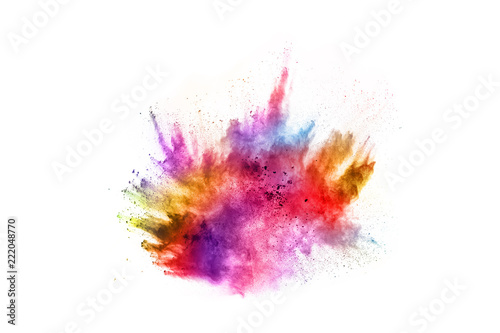 Fototapeta Colorful powder explosion on white background. Colored cloud. Colorful dust explode. Paint Holi. obraz na płótnie