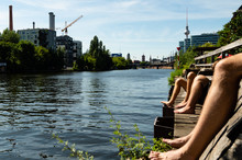 Relaxing At The Spree In Berlin