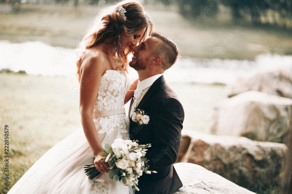 Fototapeta The happy couple.Wedding photos in nature.Couple in love