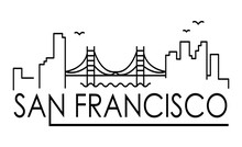 Linear Banner Of San Francisco City. All San Francisco Buildings - Customizable Objects With Opacity Mask, So You Can Simple Change Composition. Line Art.