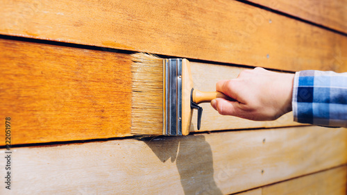 Female hand painting wooden wall with a brush