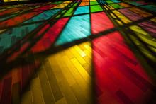 Rainbow Colours Shine On The Modern City Floor