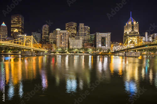 Photo Roberto Clemente Bridge and the Andy Warhol Bridge over Allegheny River Pittsbur