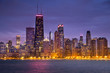 Chicago cityscape downtown skyline across Lake Michigan and Lake Shore Drive in Illinois USA
