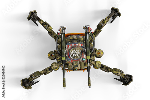 Tuinposter Helicopter super military drone in a white background